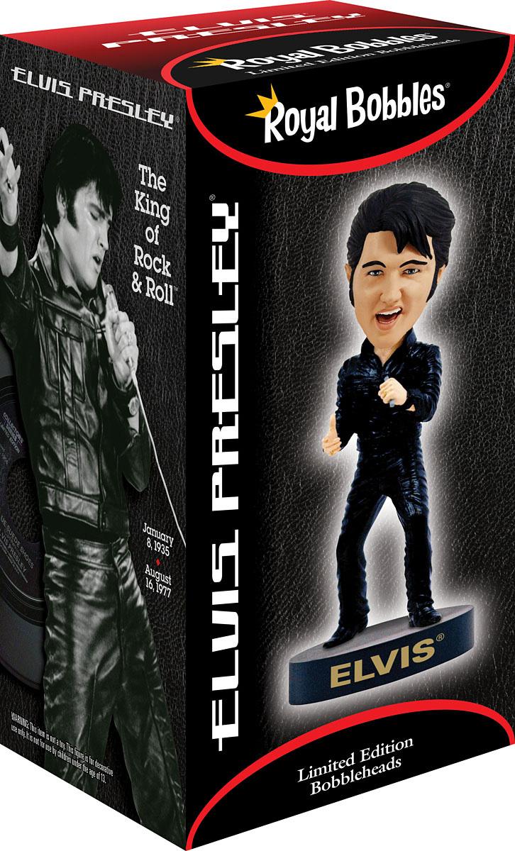 Royal Bobbles Elvis Black leather bobblehead figure 010542